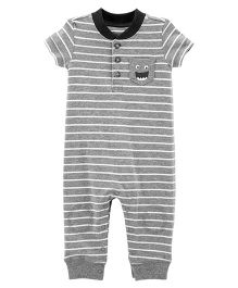 Carter's Striped Dog Romper - Grey