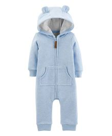 Carter's Puppy Hooded Fleece Romper - Blue