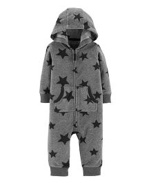 Carter's Star Hooded Fleece Jumpsuit - Grey