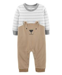 Carter's Bear Fleece Romper - Brown White