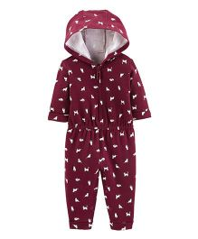 Carter's Hooded Full Sleeves Romper Dog Print - Maroon
