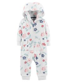 Carter's Full Sleeves Hooded Fleece Romper - White