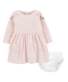 Carter's Full Sleeves Kitty Dress With Bloomer - Pink
