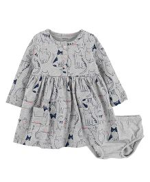 Carter's Full Sleeves Cat Jersey Dress With Bloomer - Grey