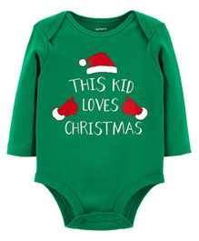 Carter's Full Sleeves Christmas Collectible Bodysuit - Green