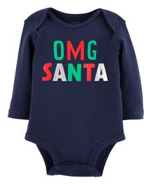 Carter's Full Sleeves Santa Collectible Bodysuit - Navy Blue