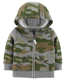 Carter's Full Sleeves Hooded Sweat Jacket Camouflage Print - Green