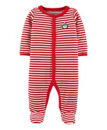 Carter's Christmas Snap-Up Velour Sleep & Play - Red White
