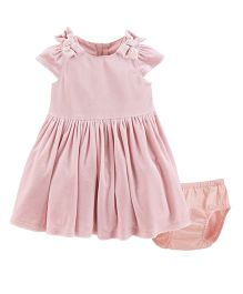 Carter's Short Sleeves Bow Velour Dress With Bloomer - Pink