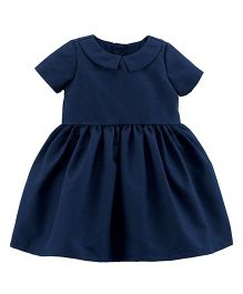Carter's Short Sleeves Collared Woven Dress - Navy Blue
