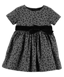 Carter's Cheetah Print Holiday Dress - Black Grey