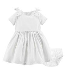 Carter's Short Sleeves Bow Metallic Dress With Bloomer - White