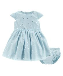 Carter's Short Sleeves Silver Heart Tulle Dress With Bloomer - Blue