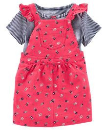 Carter's 2-Piece Dungaree Dress & Bodysuit Set - Red