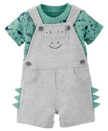 Carter's 2-Piece Tee & Shortalls Set - Grey Green