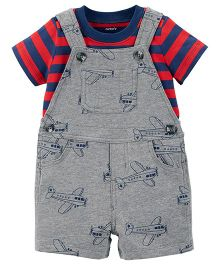 Carter's 2-Piece Tee & Shortalls Set - Grey