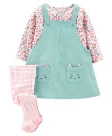 Carter's Full Sleeves 3-Piece Corduroy Jumper Set - Green