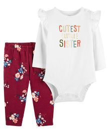 Carter's 2-Piece Bodysuit Pant Set - White Red