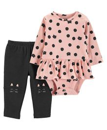 Carter's 2 Piece Peplum Bodysuit Pant Set - Pink Black