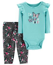 Carter's 2-Piece Bodysuit Pant Set - Sea Green Grey
