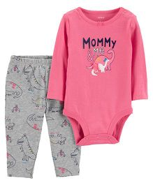 Carter's 2-Piece Bodysuit Pant Set - Pink Grey