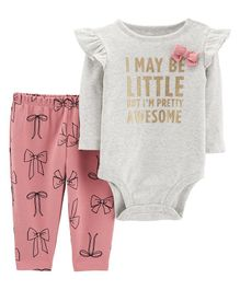 Carter's 2-Piece Bow Sparkle Bodysuit Pant Set - Grey Pink