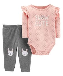 Carter's  2-Piece Bunny Bodysuit Pant Set - Pink Grey