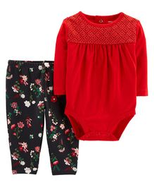Carter's 2-Piece Floral Bodysuit Pant Set - Red Black