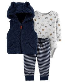 Carter's 3 Piece Vest Set - Navy Blue Grey