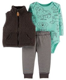 Carter's 3-Piece Little Vest Set - Sea Green Dark Grey