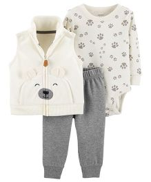 Carter's 3-Piece Little Vest Set - White Grey