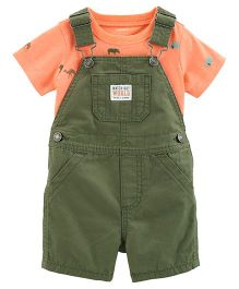 Carter's 2-Piece Neon Tee & Shortalls Set - Orange Green