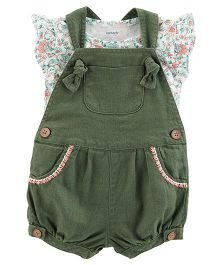 Carter's 2-Piece Tee & Shortalls Set - Green White
