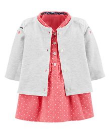 Carter's Full Sleeves 2-Piece Dress & Cardigan Set - Pink
