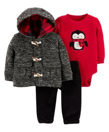 Carter's 3-Piece Little Cardigan Set - Red Black