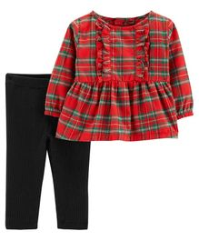 Carter's 2-Piece Plaid Top & Pant Set - Red & Black