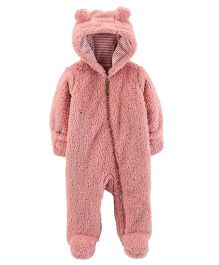 Carter's Full Sleeves Sherpa Hooded Romper - Pink