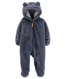 Carter's Full Sleeves Sherpa Hooded Romper - Navy Blue