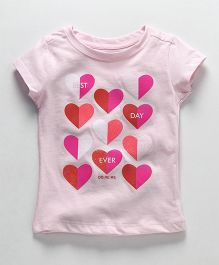 Doreme Half Sleeves Top Heart Print - Light Pink