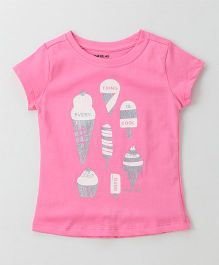 Doreme Half Sleeves Tee Ice Cream Print - Pink