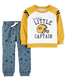 Carter's 2 Piece Football Pullover & French Terry Jogger Set - Blue & Yellow