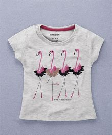 Doreme Short Sleeves Top Flamingo Print - Light Grey