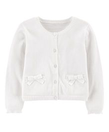 Carter's Full Sleeves Bow Cardigan - White