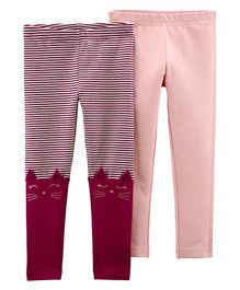 Carter's 2-Pack Cat Leggings - Pink Maroon