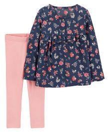 Carter's 2-Piece Floral Top & Legging Set - Navy Pink