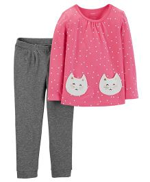 Carter's 2-Piece Polka Dot Top & Jersey Pant Set - Pink Grey