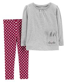 Carter's 2-Piece Jersey Top & Polka Dot Legging Set - Grey