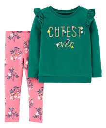Carter's 2-Piece Cutest Ever Tee & Floral Legging Set - Green Pink