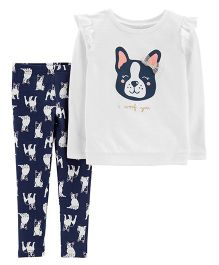 Carter's 2-Piece French Bulldog Sweatshirt & Legging Set - White Navy