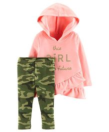 Carter's 2-Piece French Terry Hoodie & Camo Legging Set - Pink Green